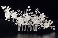 Pearl Bridal Hair Comb of Lustre Porcelain Flowers