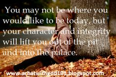 You may not be where you would like to be today, but your character and integrity will lift you out of the pit and into the palace. You May, Integrity, Palace, Success, Shit Happens, Character, Data Integrity, Palazzo, Lettering