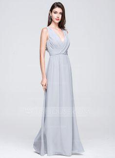 A-Line/Princess V-neck Floor-Length Ruffle Zipper Up Regular Straps Sleeveless No Other Colors Spring Summer General Plus Chiffon Bridesmaid Dress