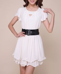 Openwork Solid Color Chiffon Dress
