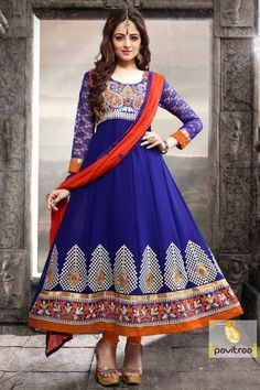Newest Designer blue Anarkali Salwar suit portrays embroidered work style on the yoke patch, heavy martial and beautiful color combination.