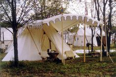 French Double Belled Wedge -This tent can be set up with only 2 or three poles. The bells on both ends make this a very attractive tent.