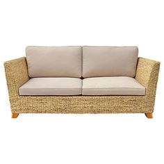 Charles Bentley Natural Water Hyacinth Three Seater Sofa With Padded Cushion
