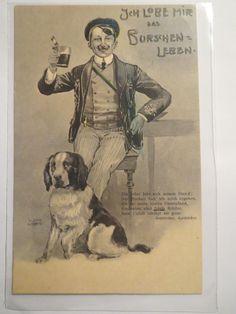 ICH Lobe MIR DAS Burschenleben 1908 Student MIT Mensur Leder Hund Studentika | eBay