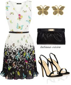 A fashion look from July 2012 featuring butterfly dress, evening sandals and leather handbags. Browse and shop related looks. Dressy Outfits, Chic Outfits, Polyvore Outfits, Polyvore Fashion, Work Fashion, Fashion Looks, Feminine Dress, Complete Outfits, Pretty Dresses