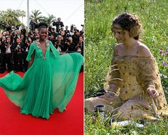 What it lacked in colour similarities, Lupita Nyong'o's custom-made Gucci gown was clearly inspired by the flowing wedding wardrobe of Princess Amidala