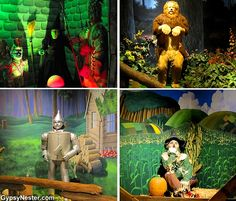 The Wicked Witch, Tin Man, Scarecrow, and Cowardly Lion at The Oz Museum in Wamego, Kansas! Bucket List Item: The Oz Museum in Wamego, Kansas! http://www.gypsynester.com/oz-museum.htm #movies #travel #wizardofoz