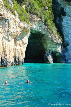 People swimming in the transparent water of the The Blue Caves, Paxos Island Paxos Island, Sardinia Island, Bucket List Destinations, Greece Islands, Corfu, The Visitors, Travel Guides, Greek, Wanderlust