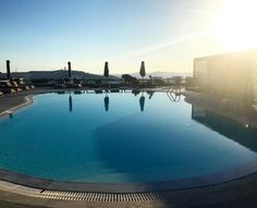Sunset dip anyone? Mykonos Hotels, Small Luxury Hotels, Cool Pools, Luxury Life, Dip, Swimming, Sunset, Swim, Luxury Living