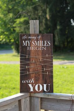 so many of my smiles begin with you, rustic photo display, reclaimed wood sign, wedding gift, wood sign with quote, pallet sign, rustic sign by SoulspeakandSawdust on Etsy
