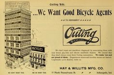 "DepartmentStorespicCyclingLife28Jan1897: Outing Bicycle said in an 1897 ad: ""We don't want our machines disgraced by associating them with sour kraut, pig iron and cheese sandwich dealers."""
