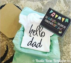 Pregnancy announcement Hello daddy onesie gift for new dad , Pregnancy, Pregnancy announcement, Reveal to husband, Reveal to family, Hello dad, Baby onesie, Baby shower gift