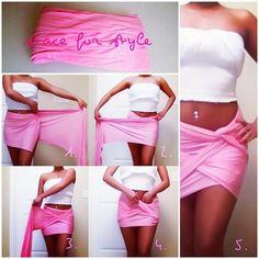 diy wrap-around skirt #pink