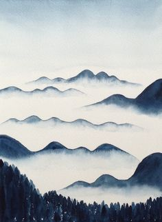 Original Watercolor Painting Foggy Mountains by ColorOfChlorophyll