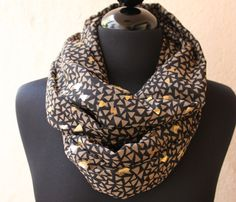 Black and Gold Cotton Infinity Scarf