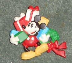 Vintage HALLMARK CHRISTMAS MICKEY MOUSE Disney Brooch Pin, Good Shape!