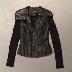 Rock & republic leather jacket with knit sleeves In great condition.soft lamb leather Rock & Republic Jackets & Coats