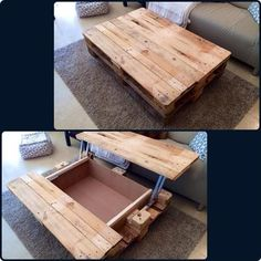 Pallet Furniture Ideas Coffee Table with Inside Storage - 15 Unique Reclaimed Pallet Table Ideas Pallet Crafts, Pallet Projects, Home Projects, Woodworking Projects, Diy Pallet, Pallet Ideas, Pallet Designs, Woodworking Basics, Woodworking Store