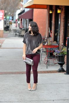 Velvet Obsessed | My Style Vita. Grey velvet top+burgundy pants+grey pumps+silver clutch. Spring Business Casual Outfit 2017