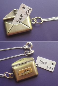 Envelope locket necklace with a cute little note inside. Adore.