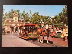 Vintage Main Street U.S.A. Postcard - Town Square - Horse Drawn Street Car by VintageDisneyana on Etsy