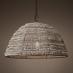 This weathered wood bead dome pendant light will adorn your home with a touch of rugged farmhouse appeal, perfect for hanging over your dining table or kitchen island. Kitchen Island Lighting, Kitchen Lighting Fixtures, Hanging Light Fixtures, Hanging Lamps, Kitchen Islands, Beaded Chandelier, Chandelier Lamp, Chandeliers, Kitchen Chandelier