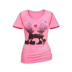 V-Neck Forever M+M Minnie and Mickey Mouse Tee for Women (63 BRL) ❤ liked on Polyvore featuring tops, t-shirts, disney, blusas, shirts, v neck tee, pink t shirt, tee-shirt, v-neck tee and pink shirts