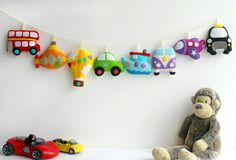 Make Your Own felt Transport Garland Kit. by PollyChromeCrafts