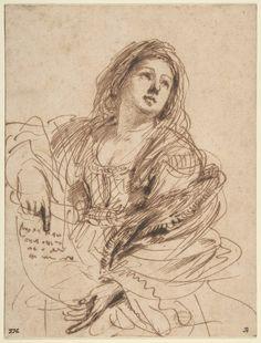Una sibila con un rollo (1638) de Guercino.