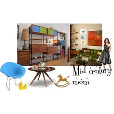 Mid century mom by underlyingsimplicity on Polyvore featuring interior, interiors, interior design, maison, home decor, interior decorating, Copeland Furniture, Knoll, vintage and mothersdaygifts