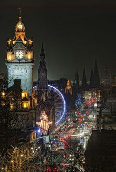 Incredible night view to Princess Street, Edinburgh city center during Christmas. #lights #scotland #uk