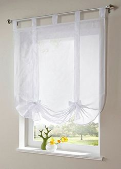 Uphome 1pcs Cute Bowknot Tie-Up Roman Curtain - Tab Top Sheer Kitchen Balloon Window Curtain55 x 55 InchWhite