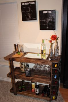 Handcrafted Wooden Bar Cart by CalderonConstruction on Etsy https://www.etsy.com/listing/210786995/handcrafted-wooden-bar-cart