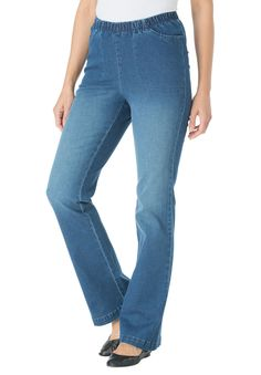 Petite Bootcut Pull On Denim - Women's Plus Size Clothing