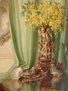 Still Life Study Of Flowers Emanating From A Japanese Statue Beside Ornaments On A Table - Talbot Hughes