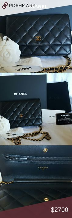 Chanel woc black lamb gold hardware Yes, 100% authentic brand new (no price attached, chanel shop never) Never been worn. Was purchase 2 bags Jan 19, 2017.  Wallet On Chain w/gold hardware Comes with dust bag, box, authentication card, ribbon and camellia flower.  Please offer! Seriouse buyer! CHANEL Bags Crossbody Bags