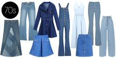 Bell-bottoms and silhouettes emphasizing the waist ran as freely as Woodstock attendees in the mud. Eventually these denim styles faded out due to the production and preference of polyester clothing. Romwe Denim Dress, $24; romwe.com Valentino Denim Dress, $1690; valentino.com MIH Jeans The Dix Stretch-denim Flared Overalls, $335; net-a-porter.com Michael Kors High-rise Flared Jeans, $495; net-a-porter.com MM6 Maison Martin Margiela High-waisted Wide-leg Jeans, $395; net-a-porter.com Dittos…