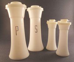Vintage Salt & Pepper Shakers Tupperware White. My grandma had these.