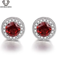 DOUBLE-R 1.5ct Natural Garnet Gemstone Earrings 925 Sterling Silver Jewelry Wedding Stud Earrings For Women Brand Fine jewelry