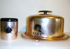 Vintage West Bend Cake Carrier Canister Set Aluminum Metal Retro Kitchen Decor