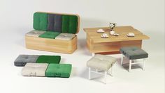 This convertible sofa turns into a dining table within seconds.