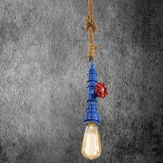 Kreatívne lanové závesné svietidlo v tvare priemyselného potrubia v modrej farbe Light Bulb, Led, Lighting, Home Decor, Cluster Pendant Light, Decoration Home, Room Decor, Light Globes, Lights