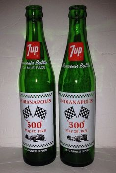 2 Vintage Antique 7 Up Green Glass Indianapolis 500 Soda Cola Bottle 1978 1979  | eBay