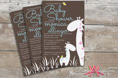 Printable Giraffe-Themed Baby Boy Shower Invitations  |  Custom Digital File on Etsy, $20.00