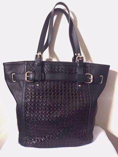 Big Buddha Purse Black Pebbled Faux Leather Weaved Satchel Tote Bag    eBay