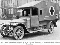 New type English WWI Ambulance. World War One, First World, Dog Soldiers, Emergency Equipment, Rescue Vehicles, Fire Equipment, Military Modelling, Emergency Vehicles, Classic Trucks
