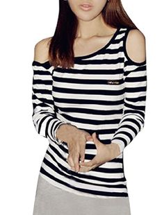 Allegra K Woman Asymmetric Neckline Long Sleeve Striped Fitted Top T Shirts Allegra K http://www.amazon.com/dp/B008X042MQ/ref=cm_sw_r_pi_dp_uP3Pvb1RW794K