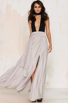 Wildfire Maxi Skirt - Gray | Shop Clothes at Nasty Gal!