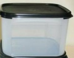"""Tupperware Modular Mate Square 2. Black Seal by Tupperware. $17.75. Clear container with black seal. 11-cup capacity. 4 1/2""""H x 7 3/8"""" Sq. lifetime warranty. dishwasher safe. Modular Mates are great for storing dry food items such as oatmeal, flour, sugar, etc. Airtight seals keep food fresh and unwanted critters out of your food."""