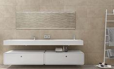 Modern, minimal bathroom setup showcasing our Majesty collection porcelain tile in Beige. Stone Look Tile, Stone Tiles, Minimal Bathroom, Porcelain Tile, Countertops, Bathtub, Mirror, Studio, Modern